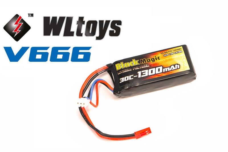 Аккумулятор Black Magic LiPo 7.4V (2S) 1300 mAh (WLToys v262. v333. v666. v666n. q212k. q212g)  - купить со скидкой